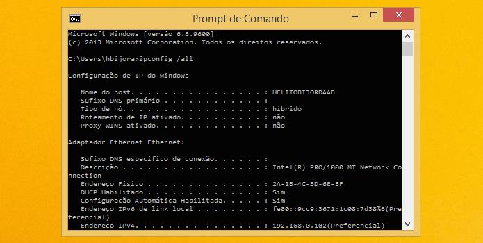 Verificando endereço MAC do adaptador de rede (Foto: Reprodução/Helito Bijora)
