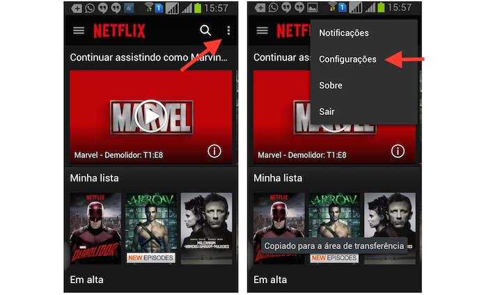 Acessando a opção Configurações do Netflix no Android (Foto: Reprodução/Marvin Costa)