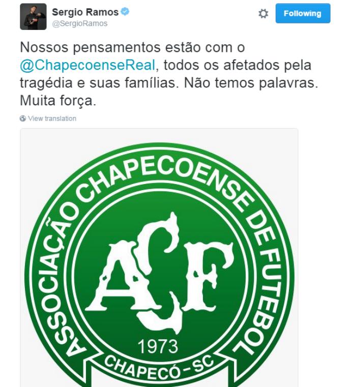 sergio ramos lamenta acidente da chapecoense (Foto: Reprodução Twitter)