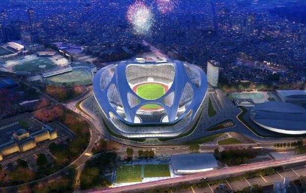 Projeto do futurista Estádio Olímpico de Tóquio, palco principal das Olimpíadas de 2020 (Foto: Divulgação)