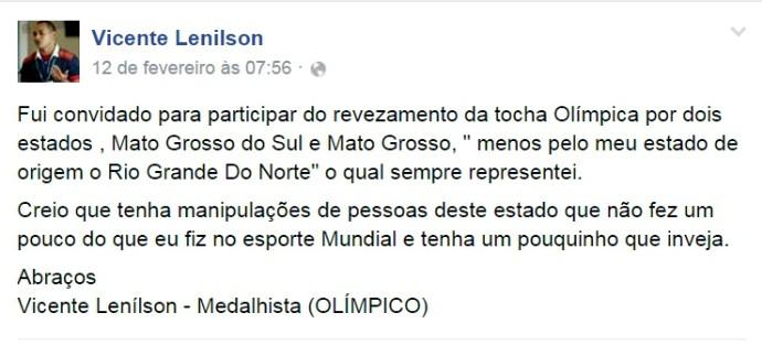 RN - Vicente Lenílson atletismo postagem rede social (Foto: Reprodução/Facebook)