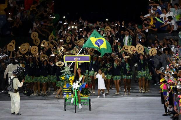 Lea T na cerimônia de abertura da Olimpíada Rio 2016 (Foto: Getty Images)