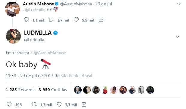 Austin Mahone e Ludmilla trocam mensagens no Twitter (Foto: Reprodução/Twitter)