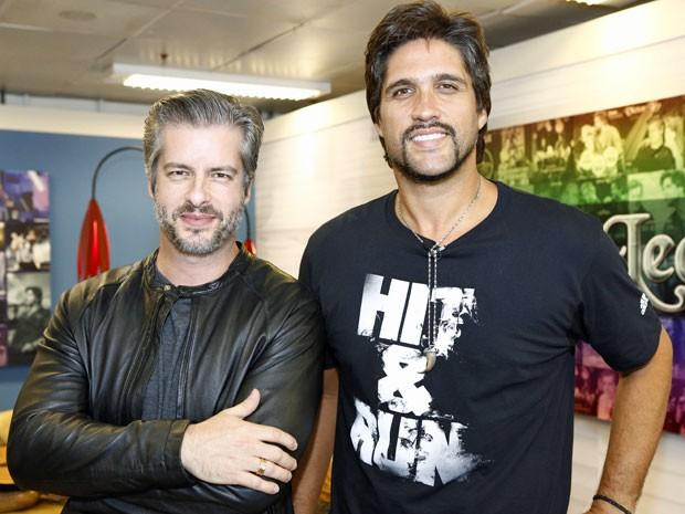 Victor e Leo no camarim do Sai do Chão (Foto: Fábio Rocha/Gshow)