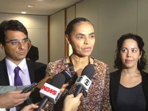 A ex-senadora Marina Silva após se reunir com ministro Marco Aurélio Mello no TSE (Foto: Mariana Oliveira / G1)