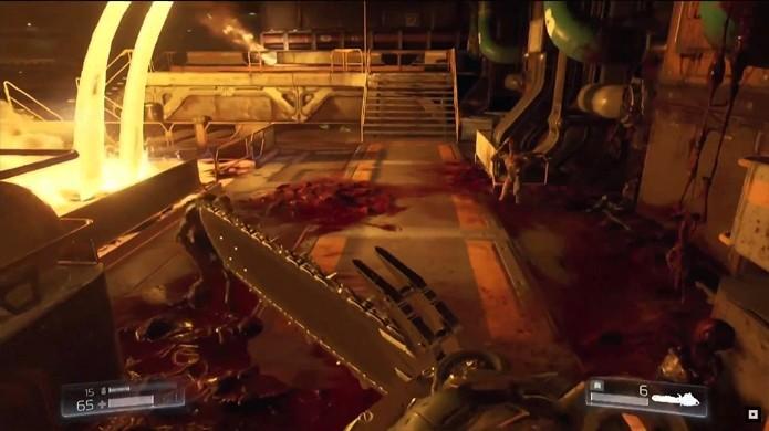 O novo Doom não se esquece de sua clássica serra elétrica e muitas outras armas (Foto: Reprodução/YouTube)