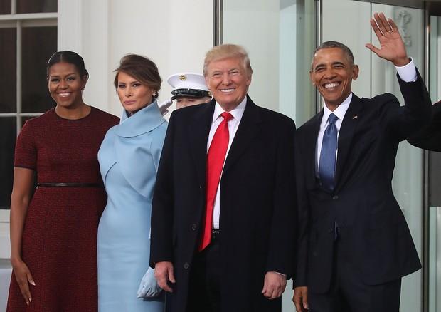 Michelle Obama, Melania Trump, Donald Trump e Barack Obama (Foto: Getty Images)