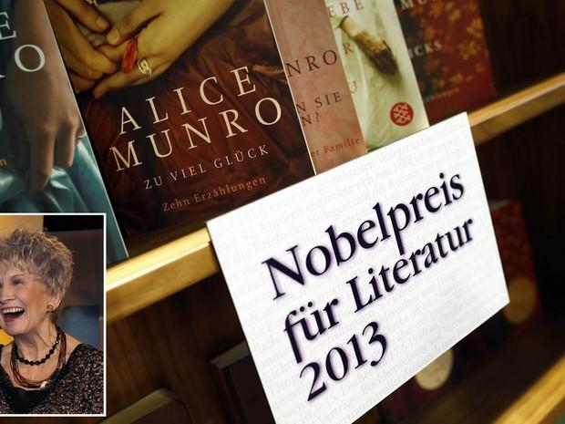 Livros de autoria da canadense Alice Munro já são destacados em estande da Feira do Livro de Frankfurt, na Alemanha, logo após a escritora ser nomeada vencedora do Prêmio Nobel de Literatura 2013. À esquerda, imagem de arquivo da autora. (Foto: Ralph Orlowski/Reuters e Mike Cassese/Reuters/Arquivo)