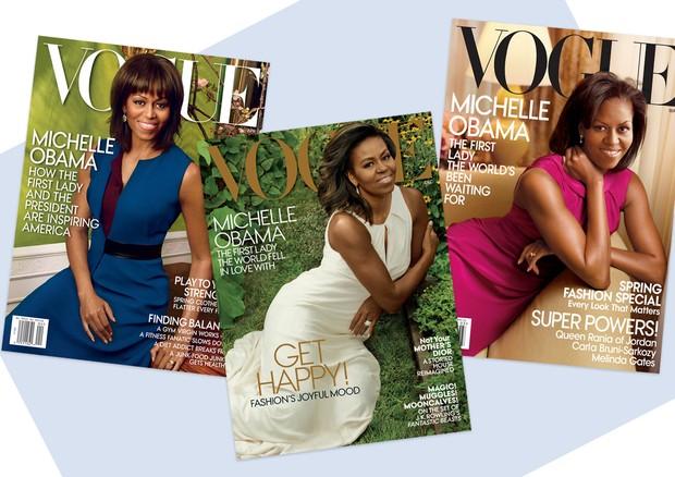 Michelle Obama nas capas da Vogue (Foto: Reprodução e Getty)