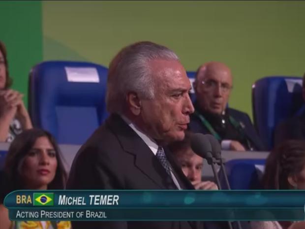 Michel Temer, ao declarar abertos os Jogos Olímpicos do Rio (Foto: TV Globo)