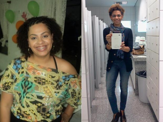 O nutricionista passou uma dieta de 1.400 calorias diárias para a jovem seguir. Na imagem à esquerda, Joyce ainda está acima do peso; na direita, depois de emagrecer (Foto: Arquivo pessoal)