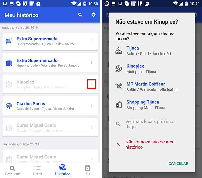 Foursquare permite que o usuário revise uma sugestão de localização no histórico (Foto: Reprodução/Elson de Souza)