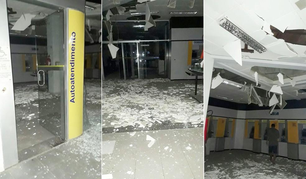 Agências ficaram praticamente destruídas com força dos explosivos (Foto: Divulgaçãp / PM)