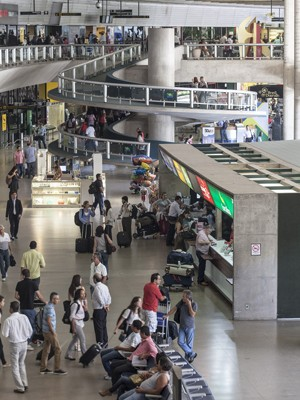Área de desembarque e check-in do Aeroporto de Confins (Foto: Divulgação/Infraero)
