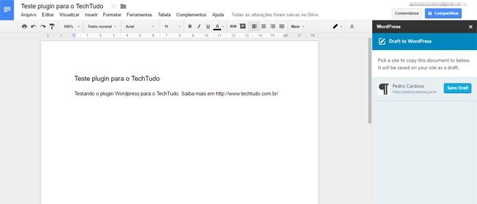 Plugin Wordpress funcionando integrado ao Google Docs (Foto: Reprodução)