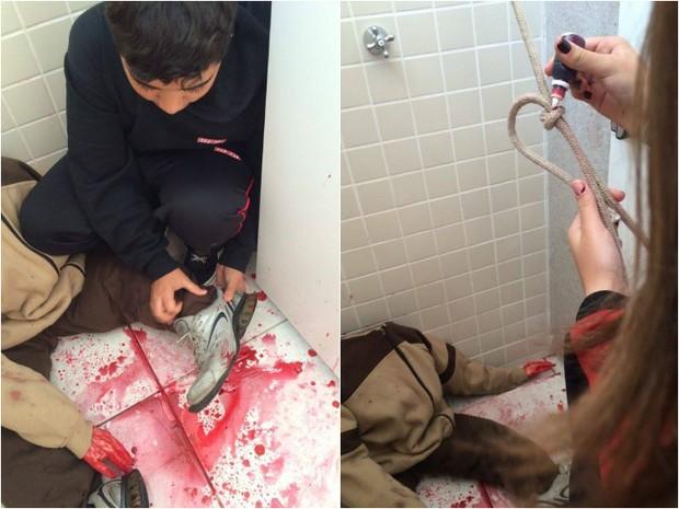 Estudantes montam cenários e solucionam homicídios cenográficos em Jundiaí (Foto: Erivaldo Junior/Arquivo Pessoal)
