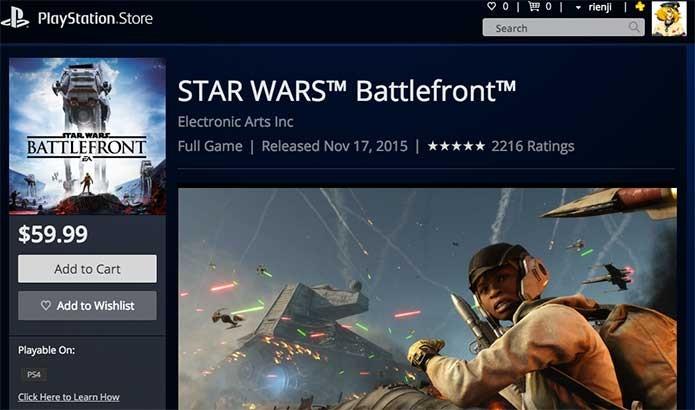 Star Wars Battlefront na PS Store (Foto: Reprodução/Felipe Vinha)