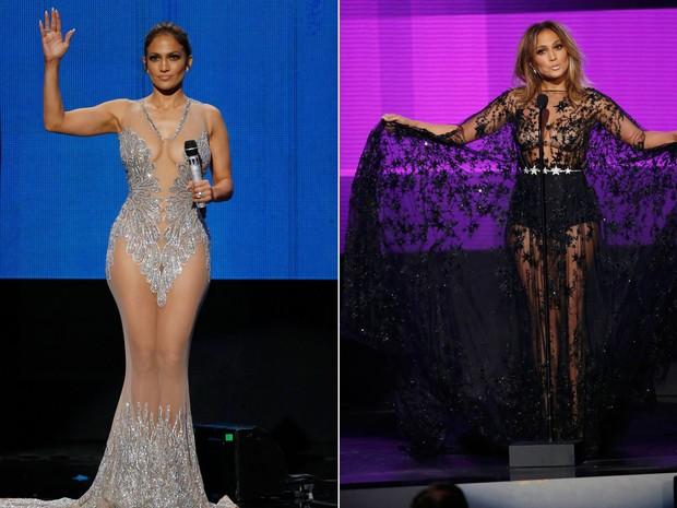 A cantora e atriz Jennifer Lopez durante sua participação no American Music Awards (AMA's) 2015, do qual foi apresentadora (Foto: Mario Anzuoni/Reuters)