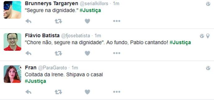 Público comenta o término do noivado de Irene e Douglas (Foto: TV Globo)