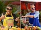 Surfistas e saudáveis, Paulinho Vilhena e Evandro Mesquita preparam sucos