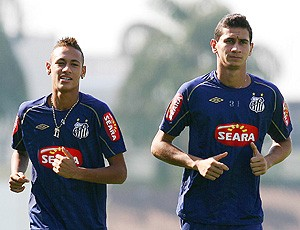 Neymar e Ganso no treino do Santos (Foto: Site Oficial)