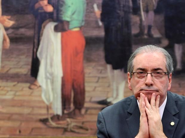 O deputado afastado Eduardo Cunha, ex-presidente da Câmara, assiste a sessão da Comissão de Constituição e Justiça na Câmara dos Deputados, em Brasília  (Foto: Adriano Machado/Reuters)