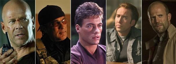 """Bruce Willis em """"Duro de Matar 4.0""""; Steven Seagal em """"Operações Especiais""""; Jean-Claude Van Damme em """"O Grande Dragão Branco""""; Nicolas Cage em """"A Lenda do Tesouro Perdido""""; Jason Statham em """"Os Especialistas"""" (Foto: Divulgação)"""
