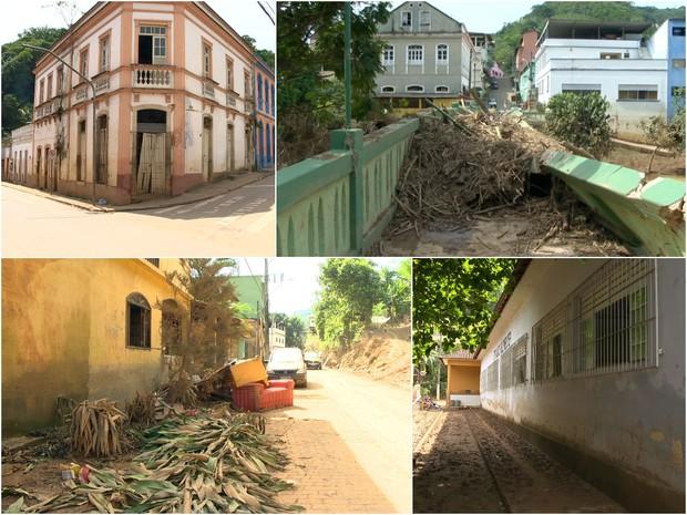 Santa Leopoldina ficou arrasada depois das chuvas, no Espírito Santo (Foto: Reprodução/TV Gazeta)