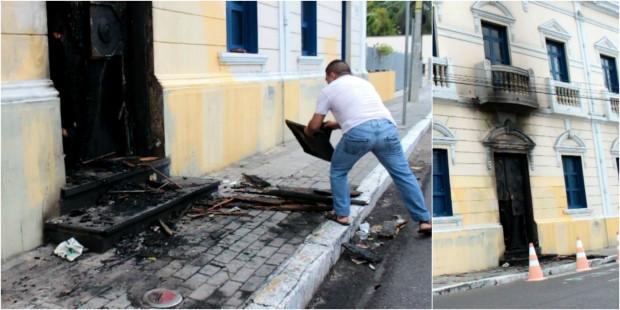 Ataque ocorreu por volta de 1h30. Ninguém ficou ferida. (Foto: TV Verdes Mares/Reprodução)