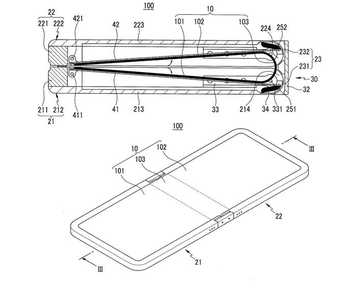 Patente da Samsung mostra dispositivo que pode ser dobrado ao meio sem danificar a tela (Foto: Reprodução/Phandroid)