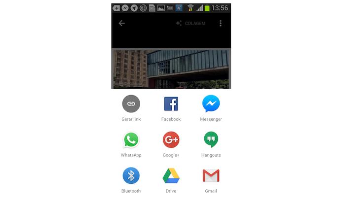 Opções de compartilhamento de uma colagem de fotos do Google Photos no Android (Foto: Reprodução/Marvin Costa)