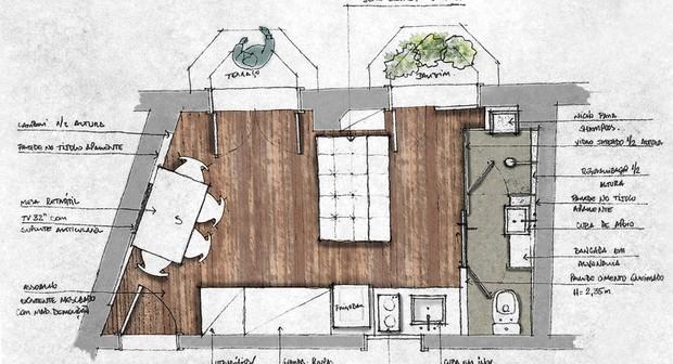 Planta do apartamento de 19 m²  (Foto: Divulgação)