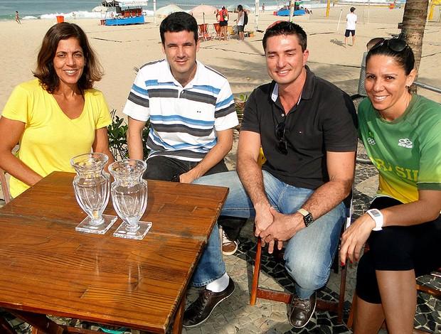 reprodução vôlei de praia Jackie, Guilherme, Pará e Sandra (Foto: Helena Rebello)