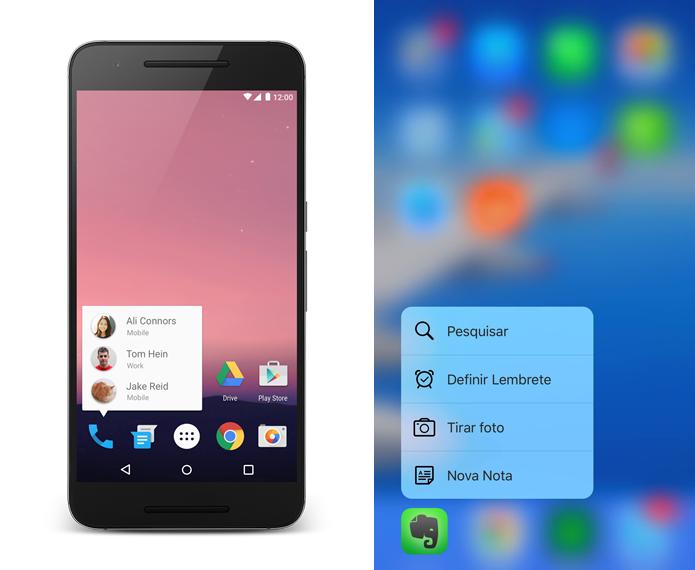Atalhos rápidos na tela inicial do Android N e do iOS em um iPhone 6S Plus, com tela 3D Touch (Foto: Arte sobre Divulgação/Google e Reprodução/TechTudo)