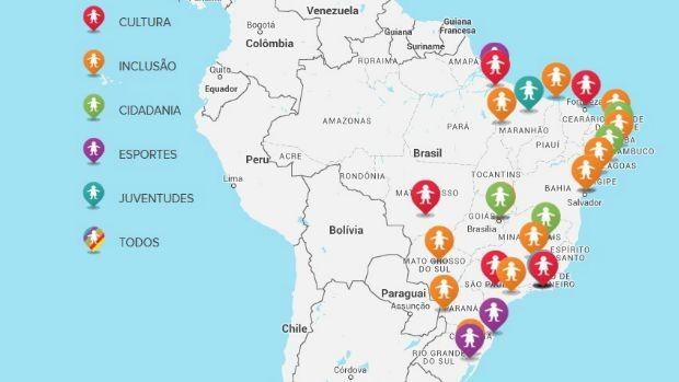 Mapa mostra projetos apoiados em 2016 - 2017 (Globo)