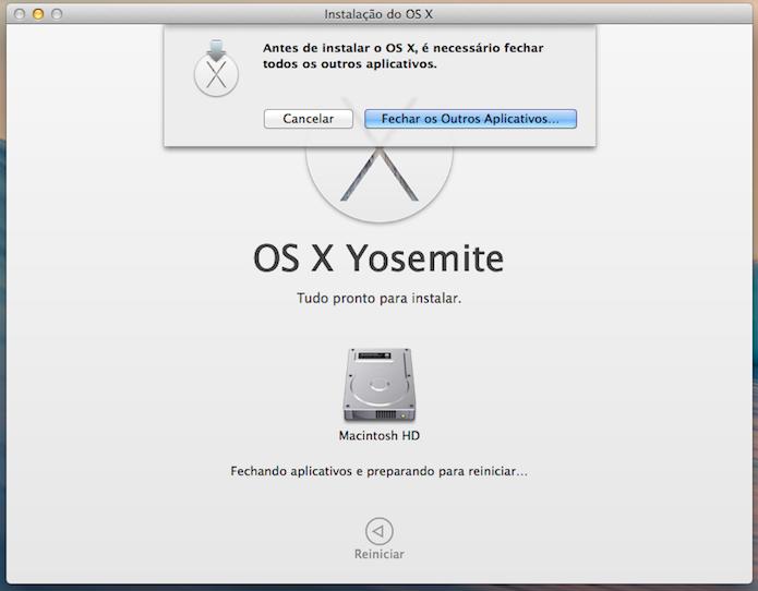 O computador precisa ser reiniciado (Foto: Reprodução/Helito Bijora)