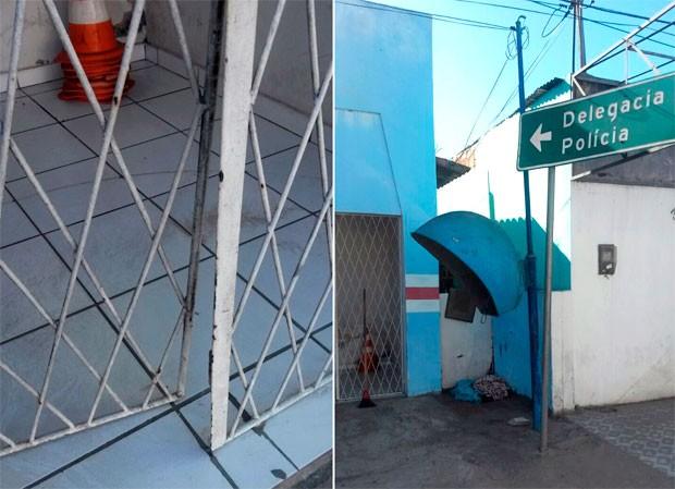 Portão de entrada da Delegacia de Polícia Civil de São Gonçalo do Amarante foi forçada (Foto: Marksuel Figueiredo/Inter TV Cabugi)