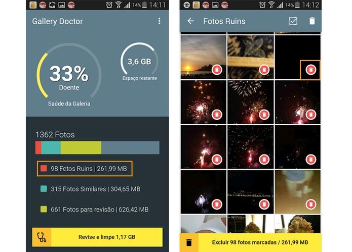 Seleção de fotos ruins, escuras ou borradas pelo app (Reprodução/Barbara Mannara)