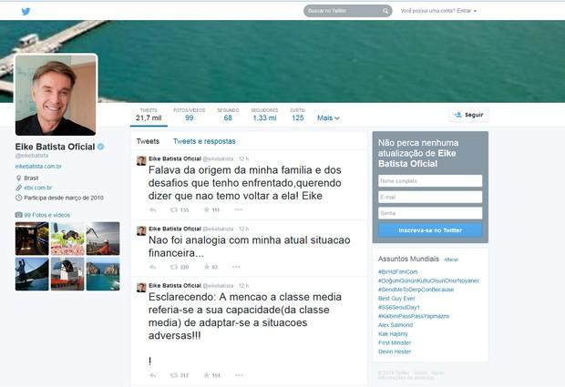 Eike volta às redes sociais para explicar citação sobre classe média (Foto: Reprodução / Twitter)