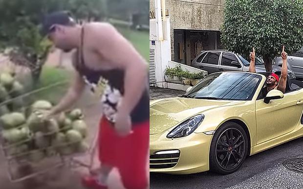 À esquerda, Kléber Bambam relembra em vídeo sua técnica para abrir coco com a mão (Foto: Reprodução/ Youtube e Instagram)