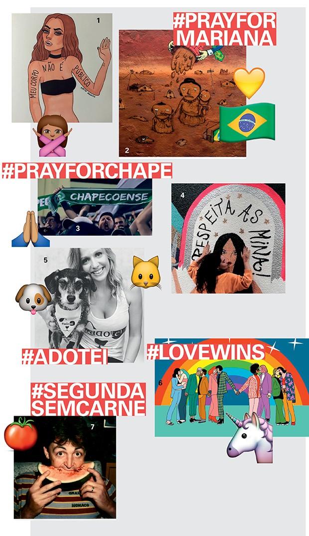 """Eis os posts encontrados nas respectivas hashtags: 1. Interpretação de Nath Araújo (@nanaths) sobre o caso do assédio sexual sofrido por uma passageira de ônibus em SP; 2. Arte dos grafiteiros OsGemeos, sobre a tragédia ambiental de Mariana; 3. Apoio às vítimas e famílias do desastre aéreo com o time da Chapecoense; 4. Grafite de Rita Wainer para a #respeitaasmina; 5. Campanha digital de Luisa Mell; 6. Ilustração de Juliana Rocha sobre a polêmica da """"cura gay""""; 7. Paul McCartney, entusiasta da #meatfreemonday (Foto: .)"""