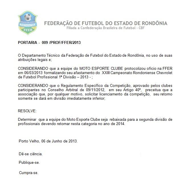 Federação divulga rebaixamento do Moto Clube-RO (Foto: Reprodução/FFER)