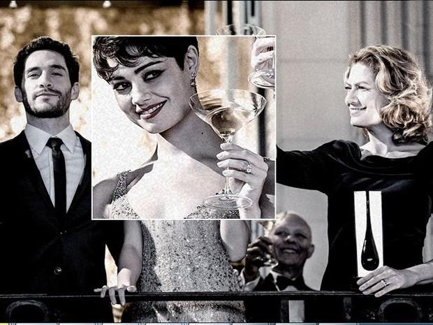 Detalhe da foto em que Gonzales, Duda e Angela comemoram patrocínio (Foto: O Rebu / TV Globo)