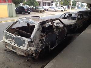 Veículos foram incendiados e apreendidos (Foto: Tatiane Santos/G1)