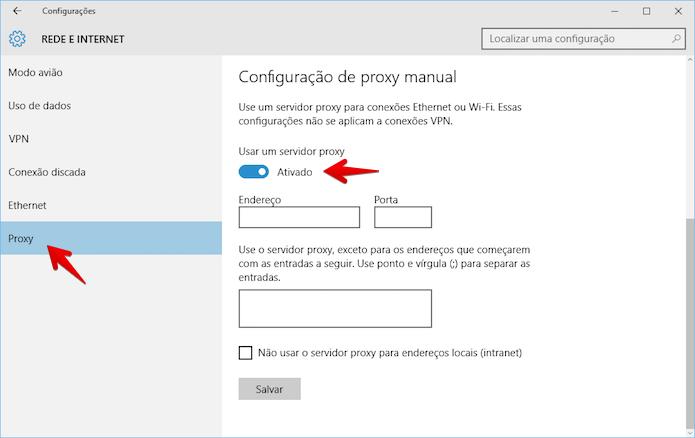 Ativando e configurando proxy no Windows 10 (Foto: Reprodução/Helito Bijora)