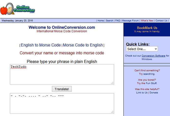 Ferramenta é de fácil acesso e pode converter de e para código Morse (Foto: Reprodução/Online Conversion)