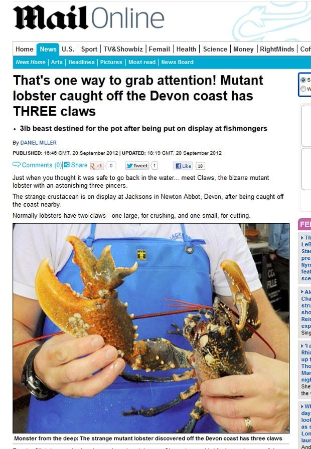 Lagosta 'mutante' tem três garras. (Foto: Reprodução/Daily Mail)