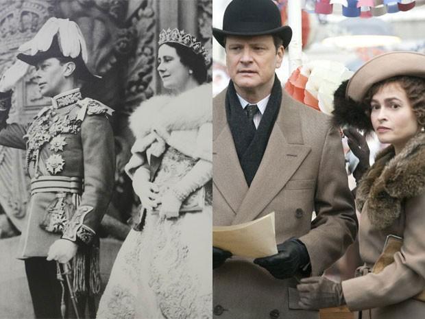 O rei George VI e a rainha Elizabeth na sede do parlamento de Ottawa, em 19 de maio de 1939, e Colin Firth e Helena Bonham Carter em cena de 'O discurso do rei' (Foto: National Film Board/Law Society of Upper Canada Archives/Divulgação )