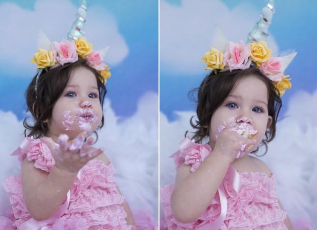 Rebekah se lambuza durante fotos 'smash the cake' (Foto: Mi Garcia)