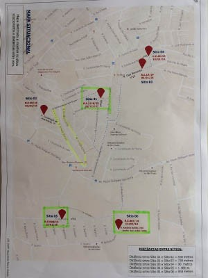 Mapa mostra locais dos crimes no Grajaú (Foto: Glauco Araújo/G1)